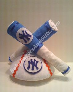 Yankees Baseball Diaper Cake from BabyFavorsAndGifts.com