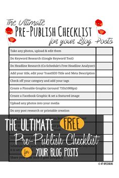 The Ultimate free printable blog post checklist: blogging | blogging tips | blogging for beginners | blogging checklist