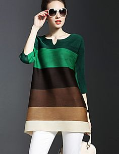 Women's Going out Punk & Gothic All Seasons Blouse,Striped V Neck ¾ Sleeve Blue / Green / Orange / Purple Rayon / Polyester Thin Frock Fashion, Couture Fashion, Fashion Dresses, Pakistani Fashion Casual, Pakistani Dress Design, Cheap Womens Tops, Stylish Dress Designs, Indian Designer Outfits, Trendy Dresses