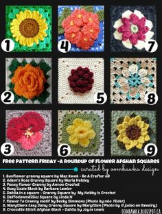 1. Sunflower granny square by Maz Kwok - Be A Crafter xD 2. Adam's Rose Granny Square by Maria Helsley 3. Pansy Flower Granny by Annoo Croch...