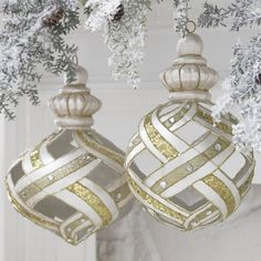 "Gold, Silver and Pearl Lattice Ornaments -  Measures 10.5"", 10""  - Set of 2 - Price : $59.95 http://www.perfectlyfestive.com/RAZ-Imports-Silver-Lattice-Ornaments/dp/B008SKK7X4"