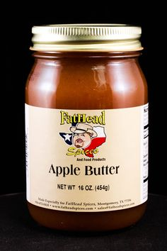 Apple Butter - another of our new products, this apple butter tastes just like grandma used to make!  Slather it on biscuits or toast, yum! #fatheadspices #applebutter #cooking #bbq #food