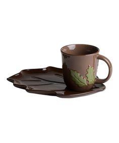 Chocolate & Rust Fall Leaf Sandwich Plate & Mug