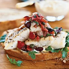 Halibut Sandwiches with Grilled Puttanesca Salsa Coastalliving.com