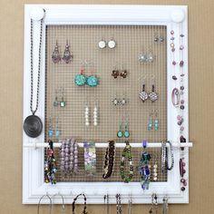 Rustic Window Frame turned Jewelry Display Storage using burlap