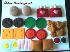ETSY  Pretend food - Play food - Felt food     Hamburger  Dinner set. $48.00, via Etsy.