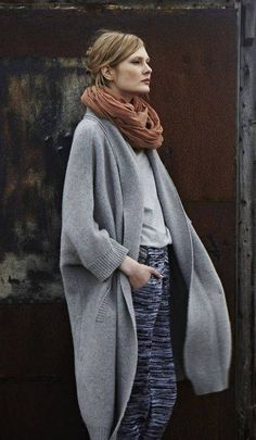 layered, add fall accessories--scarves, coats, swept up hair, loose silhouettes, cool