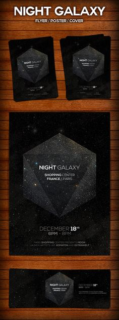 Night Galaxy Flyer Poster by Crealab.sk (Gabriel Vojtko), via Behance