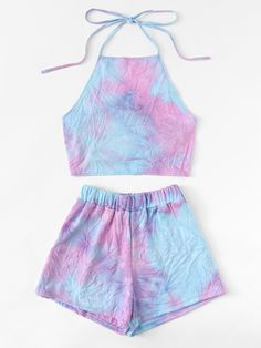 Knot Back Halter Top With Shorts - Knot Back Halter Top With ShortsFor Women-romwe Source by emmadrrwanger - Cute Lazy Outfits, Crop Top Outfits, Kids Outfits Girls, Sporty Outfits, Teenager Outfits, Pretty Outfits, Stylish Outfits, Girls Fashion Clothes, Summer Fashion Outfits
