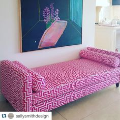 #Repost @sallysmithdesign ・・・ The most stunning day bed installed a few months ago... #christopherfarrcloth #ascraft #sallysmithdesign