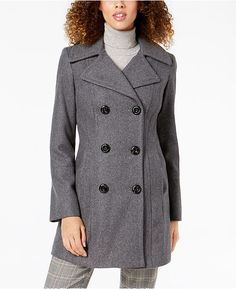 05935efd19 Anne Klein Petite Double-Breasted Wool Peacoat - Gray P XXL. Red SWomen s  CoatsFall ...