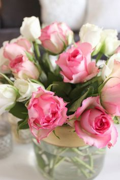 pink and white roses #flowers, #blooms