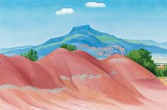 Georgia O'Keeffe, RED HILLS WITH PEDERNAL, WHITE CLOUDS