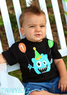 Boys Monster Birthday Shirt Personalized by TrendyGirlzCouture, $21.00