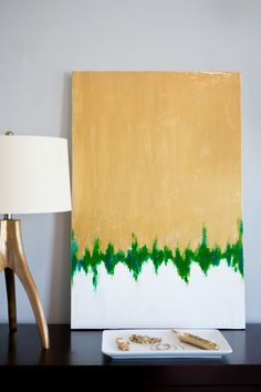 24X36 Gold/Green/White Abstract by mshartel