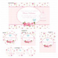 Kits Digitais Charme Papeteria - Passarinho Rosa e Branco