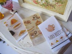 Mrs Beeton's Tea Towel Set for Dollhouse by alavenderdilly on Etsy