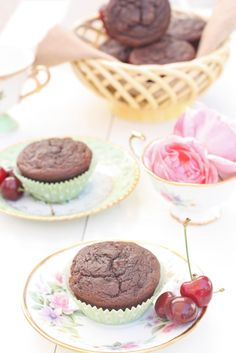 Paleo Chocolate Cherry Muffins coconut and almond flour