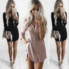 c375958d4f5a S-XL Office Lady Women s Long Sleeve Shirt Casual Full Sleeve Solid Loose  Autumn Dresses Fashion Tops Mini Short Dress Sundress
