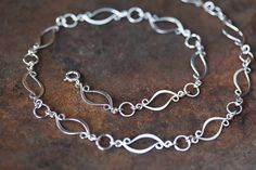 Elegant Sterling Silver Chain Necklace, unique artisan silver necklace, metalwork, marquise leaf shape silver links, 19 inch chain necklace