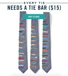 The perfect classic, colored, metallic and novelty tie bars for your, only $15 at www.TheTieBar.com