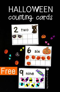 Counting Cards Halloween counting cards using erasers from Target! (can use play dough too!)Halloween counting cards using erasers from Target! (can use play dough too! Fall Preschool, Preschool Math, Fun Math, Math Activities, Preschool Themes, Halloween Math, Halloween Themes, Halloween Theme Preschool, Halloween Celebration