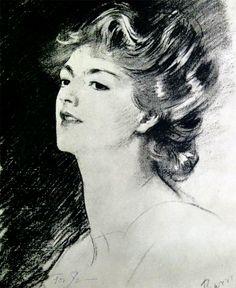 A sketch of Ethel Barrymore by John Singer Sargent.
