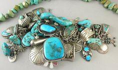 265g Larger Wrist Hopi Navajo & Zuni Turquoise Charm Bracelet