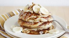 Banana Bread Pancakes... yum yum yum yum yum!  and with Bisquick!  I love Kodiak Cakes pancake mix, so I will probably try this with that mix.