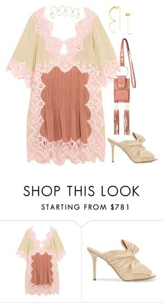 """Chloe dress and bag loewe earring"" by hugohsm ❤ liked on Polyvore featuring Charlotte Olympia"
