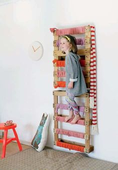 You will love these ideas for creating amazing DIY climbing spaces for kids indoor play areas. Get started on making an indoor climbing structure the kids will love. Climbing Wall Kids, Toddler Climbing, Rock Climbing, Kids Indoor Play Area, Indoor Playground, Indoor Gym, Cool Kids Bedrooms, Girls Bedroom, Hallway Decorating