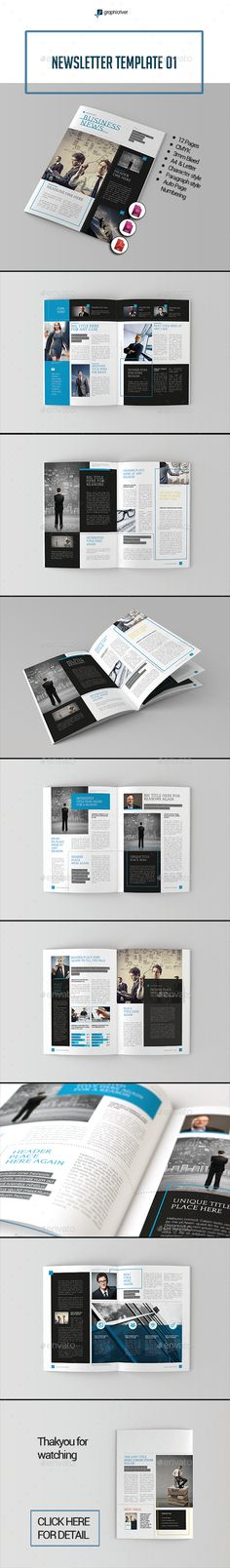 Newsletter Template InDesign INDD #design Download: http://graphicriver.net/item/newsletter-template-01/14048985?ref=ksioks
