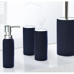 Incroyable Unique Non Slip Coated Porcelain Bathroom Accessories   Soap Dispenser,  Tumbler Or A Toilet Brush Set. This Design Is Called Pur And Is Available  In Three ...