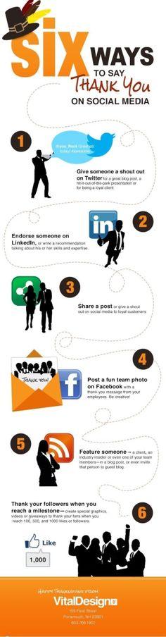 6 Ways to say Thank You on Social Media #infographic #socialmedia by elizabeth