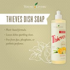 Young Living's naturally derived Thieves® Dish Soap effectively cleans dishes without chemicals, dyes, or synthetics, leaving dishes sparkling clean. Thieves Essential Oil, Essential Oils Cleaning, Therapeutic Grade Essential Oils, Natural Essential Oils, Natural Oils, Young Living Thieves, Young Living Oils, Young Living Essential Oils, Fashion Kids