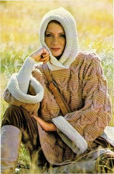 Instant PDF Download Row by Row Knitting Pattern to make a Ladies Chunky Baggy Over-sized Long Hooded Wide Sleeve Tunic Sweater Top