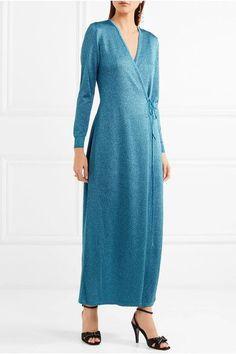Missoni - Metallic Stretch-knit Wrap Maxi Dress - Teal