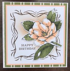 Card's with flowers Jackie's Craft Creations: Magnolia Frame Card How Contemporary Office Furniture Birthday Cards For Women, Handmade Birthday Cards, Paper Cards, Folded Cards, Magnolia Flower, Flower Stamp, Beautiful Handmade Cards, Stamping Up Cards, Sympathy Cards