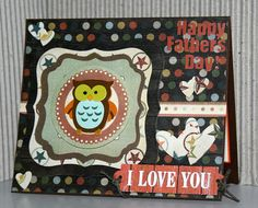 Adorable handmade Happy Fathers Day card with owl