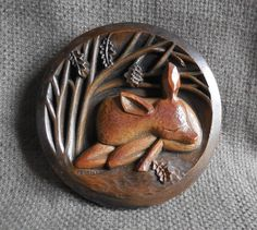 Beautiful DEER Vintage WALL PLAQUE By Richard Fisher...Adorable Sleeping Fawn...Retro Woodland Home Wall Decor...Signed Mid Century Art! by SlimandSugar on Etsy