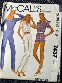 McCalls 7437, Misses Jumpsuit in size 14, bust 36 inches, from 1981. Front-buttoned jumpsuit in two lengths has notched collar, patch pocket, elastic in waistline casing, pockets in side seams. Jumpsuit A with cuffed legs, and B have short sleeves turned up to form cuffs. Jumpsuit C has long sleeves pleated into buttoned cuffs.  Uncut and complete with factory folds. Very good vintage condition. The envelope is creased from storage. ****************INSTANT SAVINGS********************** Use…