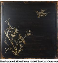 Alden Parkes Asian Yin Cocktail Table Hand Painted with beautiful birds. #Chinoiserie #AsianDecor  EuroLuxHome.com