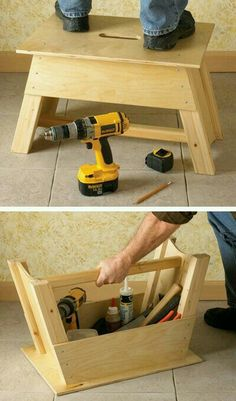 Projects Werkzeugkiste und Tritthocker in einem (Woodworking Tips) The post Projects appeared first on Woodworking Diy. Woodworking Projects Diy, Woodworking Shop, Woodworking Plans, Woodworking Workshop, Workbench Plans, Garage Workbench, Workbench Organization, Woodworking Joints, Workbench Designs