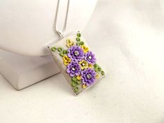 Colourful Rectangle  Pendant  with clay floral  by TunicBotik, $30.00