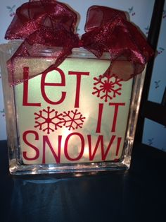Let It Snow lighted glass block.  Check out my custom made lighted glass blocks at my Etsy store IrwinRags!https://www.etsy.com/shop/IrwinRags