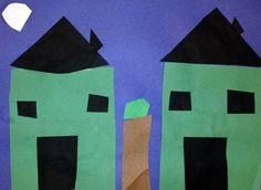Grade - Shape - Geometric and Organic - Construction paper collage Geometric Construction, Construction Paper, First Grade Art, Shape Art, Math For Kids, Art Lesson Plans, Art Lessons, Art Museum, Art Projects