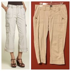 """$79 6P Jag Jeans Carson Crop Baby Camel Khaki NOTE: The Photo is of the next year's model with an added side pocket. It is for fitting reference only. Available in Black, White, Baby Camel, and Khaki! Check out the perfect cargo pants. Smooth, comfortable fit for stretch-twill pants cut with a slightly wide, cropped leg. Contrast stitching and uffs style a pair of cropped cargos with a bit of stretch. Zip fly with button closure. Approx. inseam: 21"""". Rise 10"""" Foster Rise- Mid-rise, classic…"""