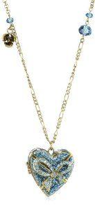 """Betsey Johnson """"Pendants and Bangles"""" Blue Heart Long Pendant Necklace"""