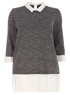 DP Curve Grey and White 2-in-1 Longsleeve Top - Dorothy Perkins