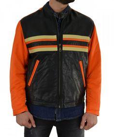 586c2aa25717 Ανδρικό πορτοκαλί μπουφάν με δερμάτινη επιφάνεια 1362